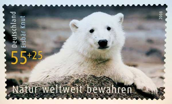 Stamp made in honor of Knut, the German polar bear.
